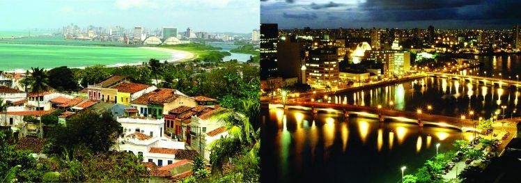 A vista impagável que se descortina do alto de Olinda, inclui a orla e parte do centro do Recife, que tem inegável vocação noturna - Foto capturada em portofiles.wordpress