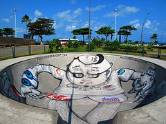 Grafite na pista de skate do Parque Dona Lindu, na Praia de Boa Viagem - SE