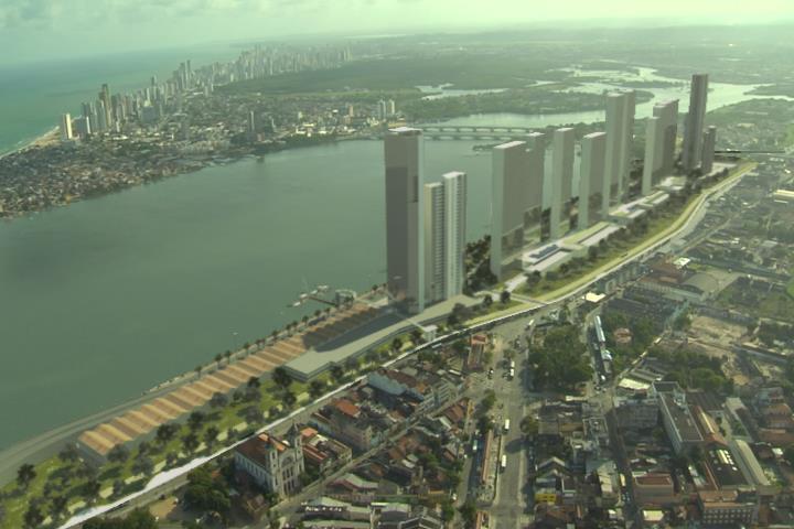 Um paredão com 12 torres   e alguma perfumaria contra a brisa do mar e a valorização dos espaços coletivos: é o projeto Novo Recife
