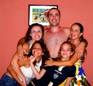 Com irmão e irmãs, no Natal de 2007, Recife