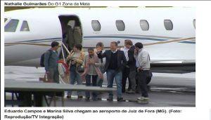 Marina e Eduardo Campos no desembarque no Rio para a entrevista no JN, véspera do acidente que levou o candidato do PSB - Foto capturada no Tijolaço