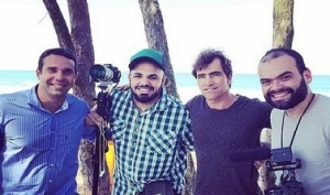 A equipe de Campos: Carlos Percol, Marcelo Lyra (Carlos Burle, surfista, não estava n vôo) e Alexandre Severo - Foto do Instagran de Percol