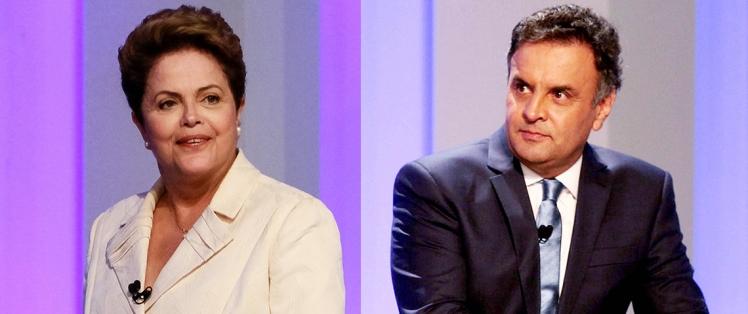 Dilma (PT) tem Aécio (PSDB) como adversário no segundo turno - Foto: montagem a partir de fotos Ichiro Guerra/Dilma 13 e Orlando Brito/Coligação Muda Brasil  via agência Fotos Públicas