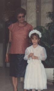 Mamãe com Carol, na formatura da pré-escola