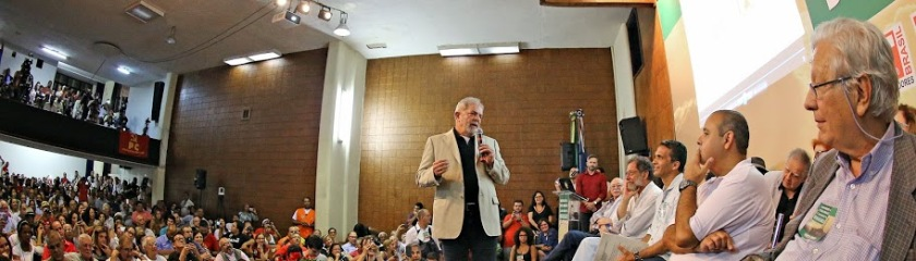 Lula, os petroleiros  (foto acima) e os convidados para o ato de desagravo da Petrobras, no Rio - Fotos: Ricardo Stuckert Fo/Instituto Lula