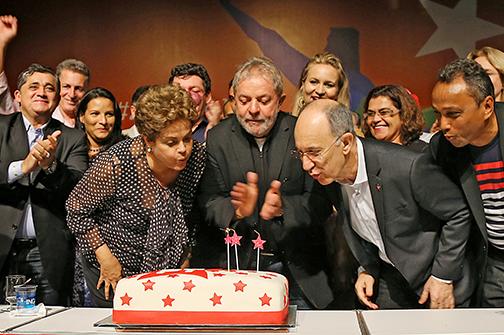 """A presidenta da República, Dilma Roussef, o ex-presidente Lula, e o presidente do PT, Ruy Falcão: """"humildade para mudar e seguir mudando"""" - Ricardo Stuckert/Instituto Lula"""