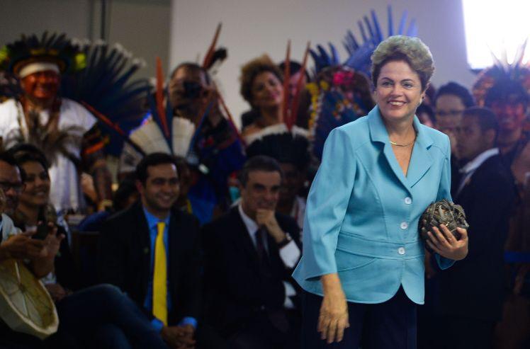 A presidenta Dilma no lançamento nacional dos Jogos Mundiais dos Povos Indígenas, em Brasília-DF - Fotos:Valter Campanato/Ag.Brasil/Pública
