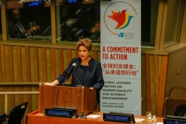 A presidenta Dilma Rousseff, no domingo 27, em Nova Iorque, fala no encontro de líderes globais sobre igualdade de gênero e empoderamento das mulheres: um compromisso para a ação - Foto: Roberto Stuckert Filho/PR/Fotos Públicas