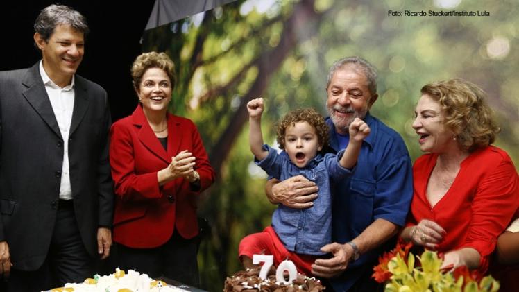 Lula celebra seus 70 anos com a família, a presidenta Dilma e o prefeito de São Paulo, Paulo Haddad - Foto: Ricardo Stuckert/Instituto Lula