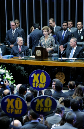 A presidenta Dilma Roussef discursa na solenidade de abertura dos trabalhos legislativos do segundo ano da 55ª Legislatura. Foto: Lucio Bernardo Jr./ Câmara dos Deputados/Fotos Públicas