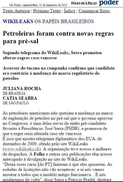 Folha e wikileaks_presal