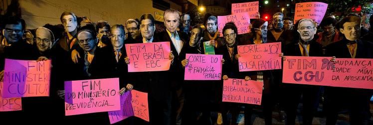 Artistas em ato #OcupaFunarte em São Paulo, nesta quinta 19 - Foto: Lina Marinelli/Jornalistas Livres