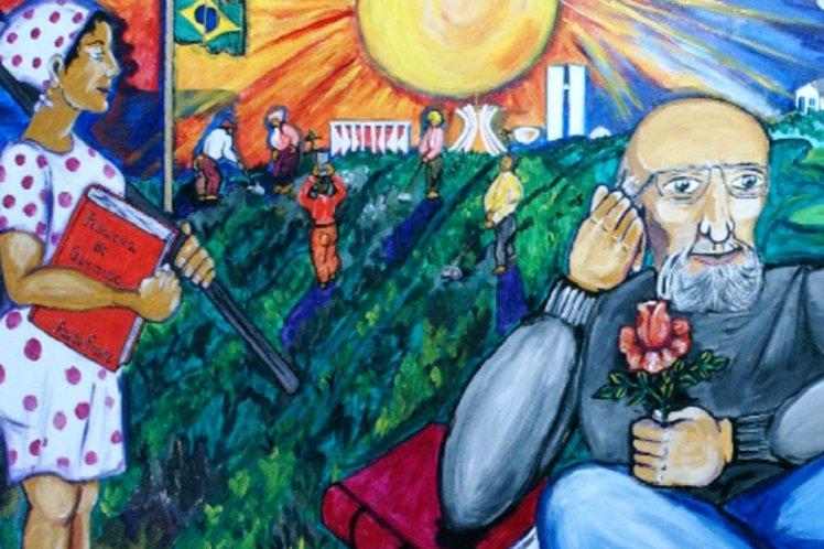 Painel retrata o educador Paulo Freire - Centro de Estudos em Pesquisa Tecnológica da Secretaria Municipal de Educação de Campinas-SP - Imagem capturada na Carta Educação, da Editora Confiança
