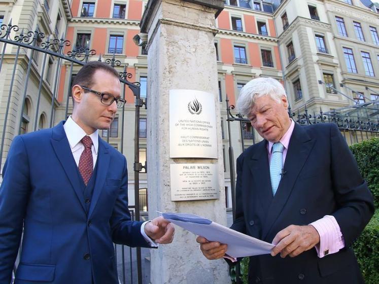 Os advogados Cristiano Zanin Martins e Geoffrey Robertson quando da representação junto ao Comitê de Direitos Humanos da ONU - Foto: Ricardo Stuckert/IL