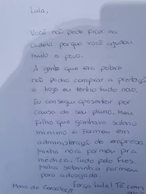 Uma carta para Lula... -
