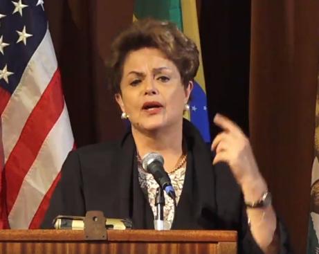 Dilma durante palestra em Berkely, Estados Unidos, semana passada - Foto capturada em Dilma.com.br