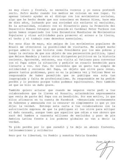 Carta Juan Grabois 2