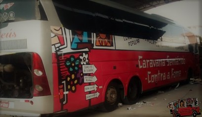 Ônibus da Carava Semiárido Contra a Forme - reprodução