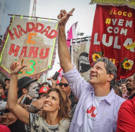 Haddad e a mulher na Paulista- Ricardo Stuckert