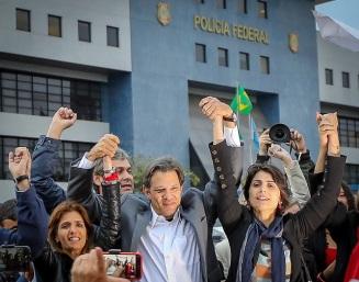 Manu, Haddad e Ana Estela, a companheira