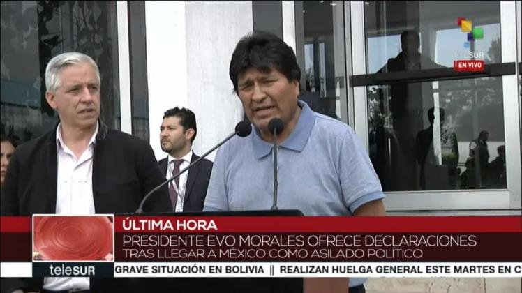 Alvaro Garcia Linera e Evo Morales em pronunciamento transmitido pela Telesur - Foto: captura de tela