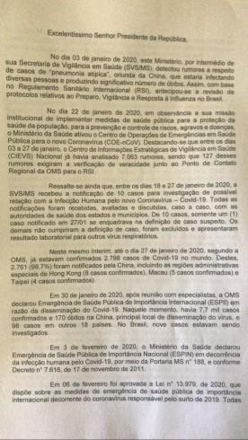 Carta de Mandetta antes de se demitir do Ministério da Saúde em abril de 2020.
