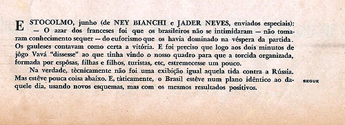 Extrato texto Ney Bianchi Copa de 1958