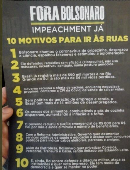 10 razões para iràs ruas